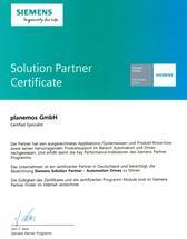 planemos ist stolz auf sein Solution Partner Certificat